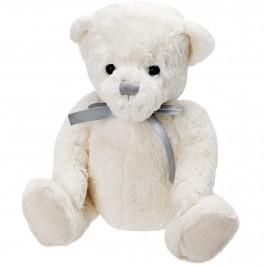 Bel medvedek s SREBRNO PENTLJO, 26cm