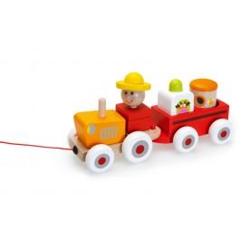 Lesena didaktična igrača traktor Čarli, 18m+