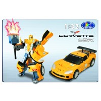 Transformer ROADBOT Chevrolet Corvette C6R, 1:32 z lučkami